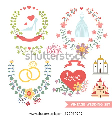 Set of cute floral wedding composition in retro style.Vintage Vector floral wreath  with wedding items.Design template for label, invitation, card.Vector illustration - stock vector