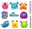 Set of cute fluffy monsters - stock vector
