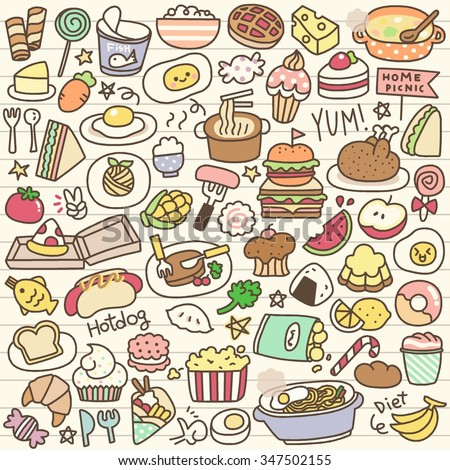 Set of Cute Food Doodle