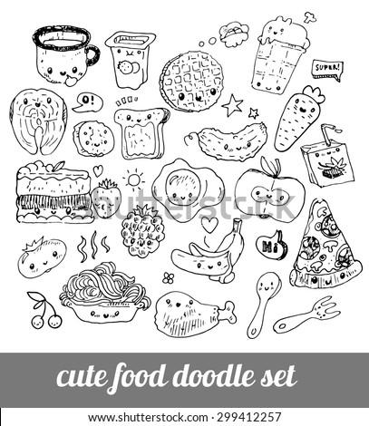 Set Cute Food Doodles Sketches Pizza Stock Vector ...