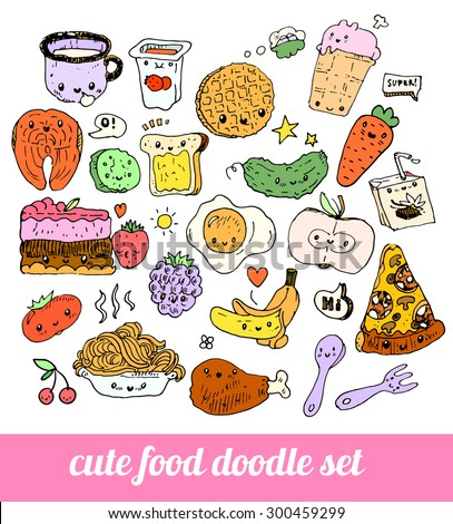 set of cute food doodles. sketches of pizza, noodles, waffles, ice cream, carrots, salmon, cake, fruit, cutlery, packaging juice, fried egg. characters with speaking bubbles - stock vector