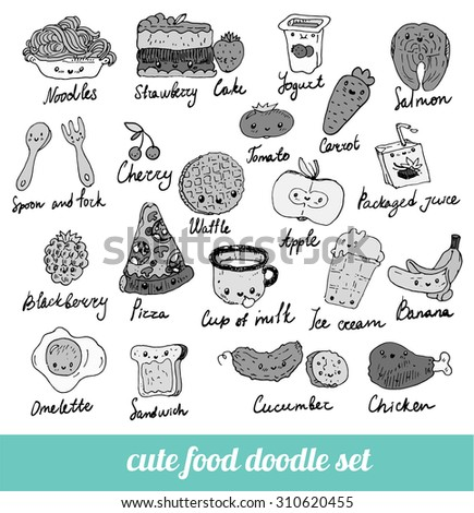 set of cute food doodles. sketches of pizza, noodles, waffles, ice cream, carrots, salmon, cake, fruit, cutlery, packaging juice, fried egg. Black and white menu - stock vector