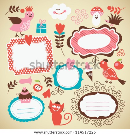 set of cute frames and kids icon - stock vector