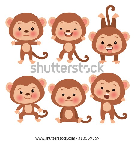Set of cute funny monkeys in a cartoon style. Funny monkey in different poses. Monkey symbol of the year. - stock vector