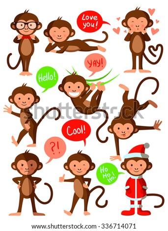 Set of cute funny monkeys, vector illustration design - stock vector