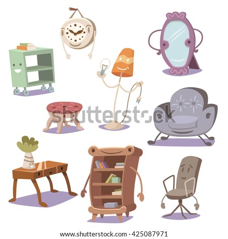 Set of cute furniture. Vector illustration. - stock vector