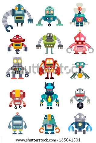 Set of cute future robots, Robots vector set, illustrator vector - stock vector