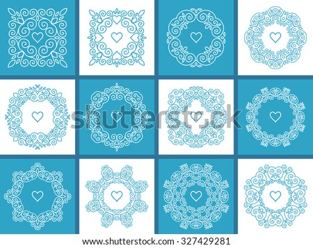 Set of 12 cute geometric floral frames in mono line style - stock vector