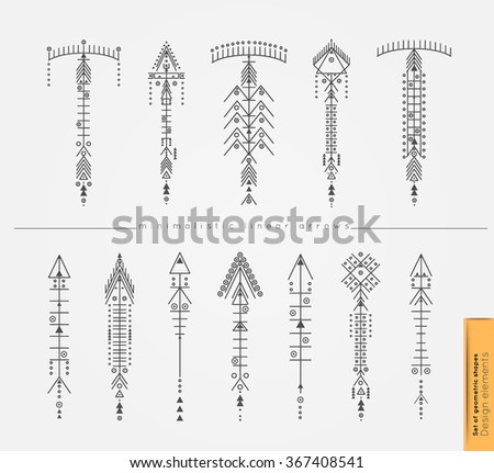 Set of cute Geometric trendy hipster arrows. Religion, philosophy, spirituality, occultism symbols collection. isolated