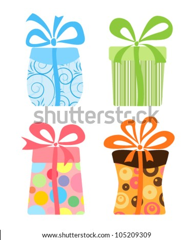 Set of cute gift boxes, vector - stock vector