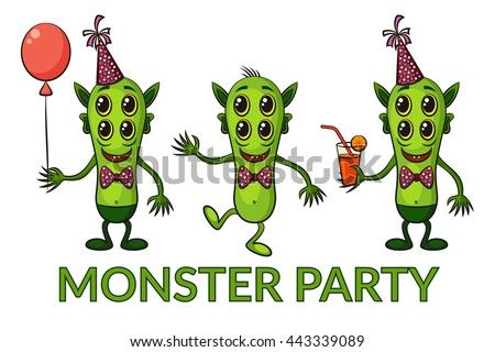 Set of Cute Green Cartoon Monsters, Colorful Toy Characters in Holiday Caps with Balloon and Juice, Smiling and Dancing, Elements for your Party Design, Prints and Banners, Isolated on White. Vector - stock vector