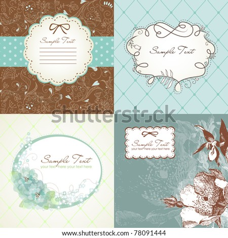 Set of cute greeting cards - stock vector