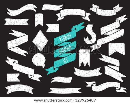 Set of cute hand drawn banners. Vector elements for design of invitation card, save the date, birthday card, scrapbook and design. - stock vector