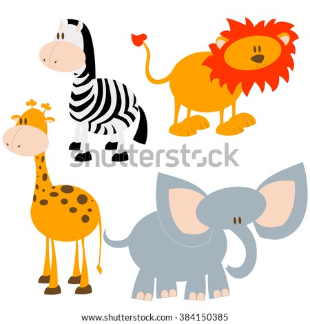 Set of cute hand drawn cartoon African animals. Lion, elephant, giraffe and zebra. - stock vector