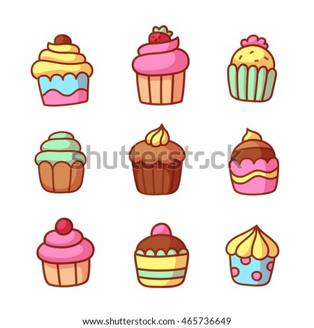 Set of cute hand drawn cartoon cupcakes. Bright and tasty dessert illustration.