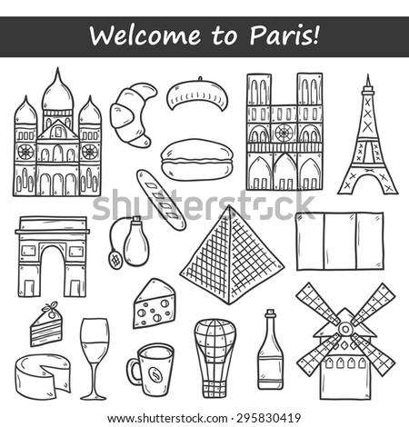 Set of cute hand drawn cartoon outline objects on Paris theme: eiffel tower, flag, moulen rouge, wine, croissant, macaroon. notre-dame. Travel concept for site, map, card