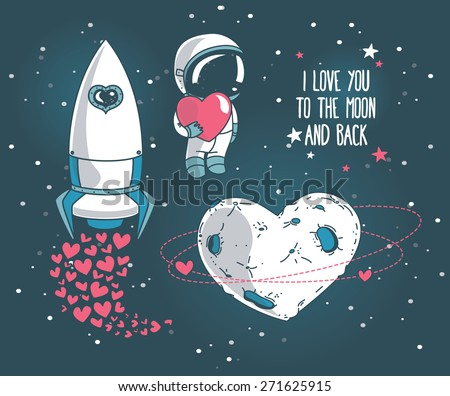 set of cute hand drawn elements for valentine's day design: heart formed planet in retro style, astronaut with heart and rocket, cosmic vector illustration - stock vector