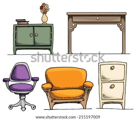 Set of cute, hand drawn furniture, vector illustration