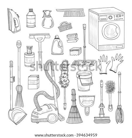 Set of cute hand drawn house cleaning tools. Vector cleaning collection - stock vector