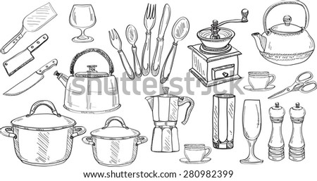 Set of cute hand drawn kitchen tools. Doodles collection. Vector  - stock vector
