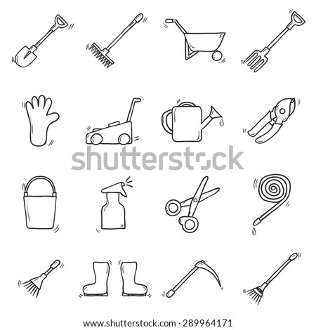 Set of cute hand drawn outline icons on garden theme. Outdoor concept with garden tools objects: watering can, gloves, cutter, pitchfork, shovel, boots, rake, secateurs, pushcart, bucket, hose - stock vector