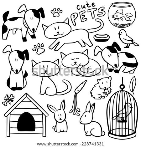 Set of cute hand drawn pets and various elements - stock vector