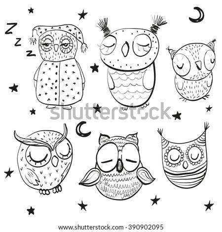 Set of cute hand drawn sleeping owls - stock vector