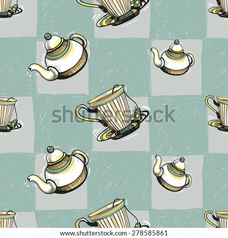 Set of cute hand drawn soft colored teapot and cup. Vector illustration. Set of isolated home breakfast party elements. Sketch pattern on blue checkered tablecloth background
