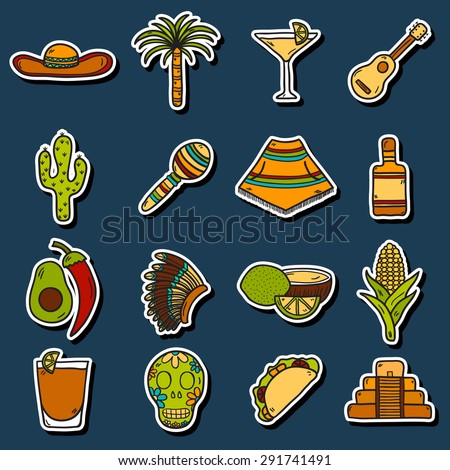 Set of cute hand drawn stickers on Mexico theme: sombrero, poncho, tequila, coctails, taco, skull, guitar, pyramid, avocado, lemon, chilli pepper, cactus, injun hat, palm. Isolated national mexican