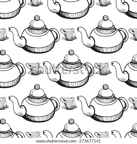 Set of cute hand drawn teapot and cup. Vector illustration. Set of isolated home breakfast decorative elements. Chess grid order black pattern on white background - stock vector