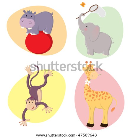 Set of cute happy vector jungle animals : hippo, elephant, monkey, giraffe. - stock vector