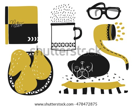 Set of cute home icons in two colors, including mug, notebook, pug and pears, ocher and black duo-tone, hand drawn clip art