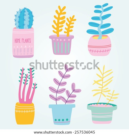 Set of cute house plants in pots, hand drawing in cartoon style. Colorful botanical set - stock vector