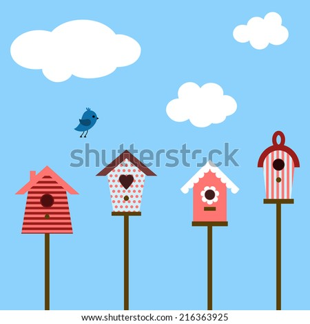 Set of cute houses for birds - stock vector