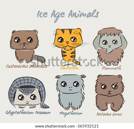 Set of cute Ice Age animals. Vector illustration of animals