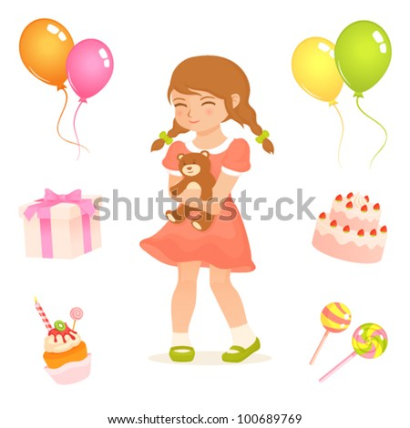 set of cute illustrations for kids with birthday party theme - stock vector