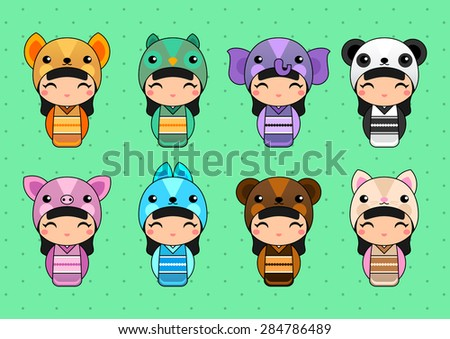 Set of cute Japanese Kokeshi Dolls in animal costumes. Kids background. Fox, owl, elephant, panda, pig, bunny, bear, cat costumes. - stock vector