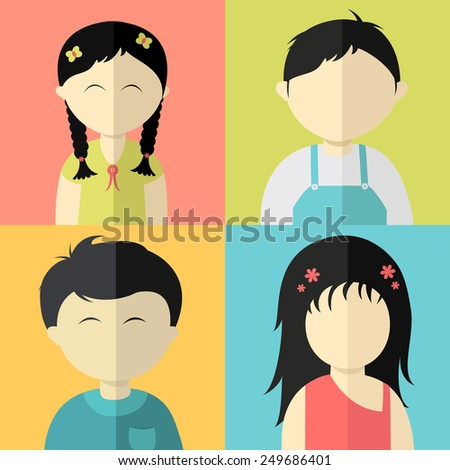 Set of cute kids cartoon - stock vector