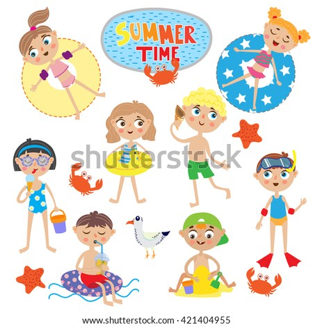 set of cute kids on summer holidays. isolated on white background - stock vector