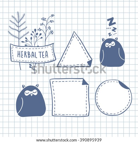 Set of cute labels. Vector illustration with wild owls from the forest. - stock vector