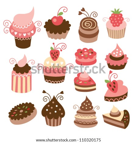 set of cute little cakes - stock vector