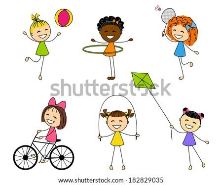 Set of cute little girls - stock vector