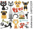 Set of cute little pets cats and dogs - stock vector