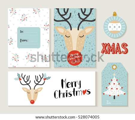 Set of cute merry christmas greeting card decoration designs. Header, label and gift tag template with reindeer illustration. EPS10 vector.
