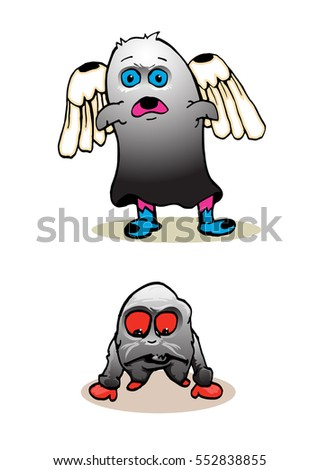 set of cute monster isolated on white. winged monster and red eye monster