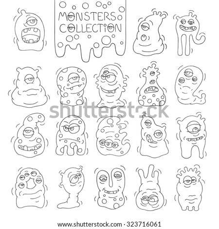 Set of cute monsters and aliens with many eyes. Cartoon funny doodle monster collection. Hand drawn vector for kids. All objects grouped  and isolated on white.  - stock vector