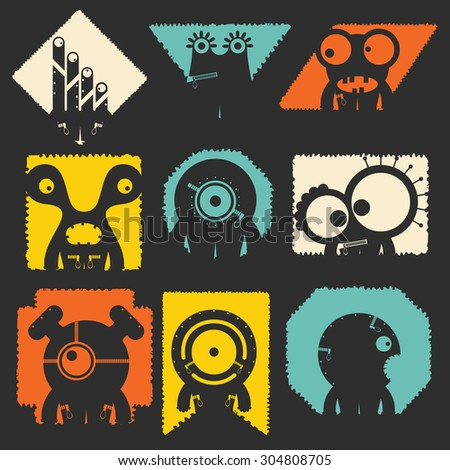set of cute monsters. vector illustration - stock vector