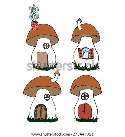 Set of cute mushrooms. Mushrooms as a house - stock vector