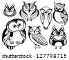 Set of cute owls - stock photo
