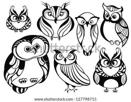 Set of cute owls - stock vector